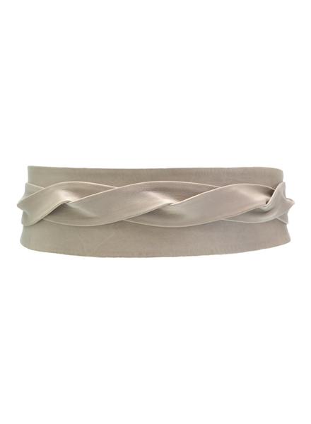 Ada Leather Wrap Belt, Taupe