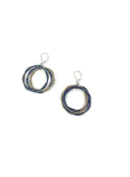 verdigris Slate & Bronze Twisted Loop Piano wire Earring