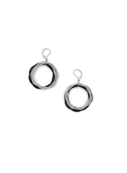 verdigris Silver & Black Twisted Loop piano wire Earring