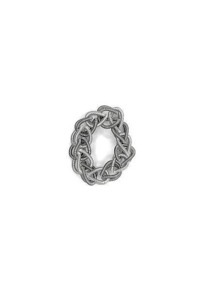verdigris Silver & Slate Chain Link piano wire Bracelet