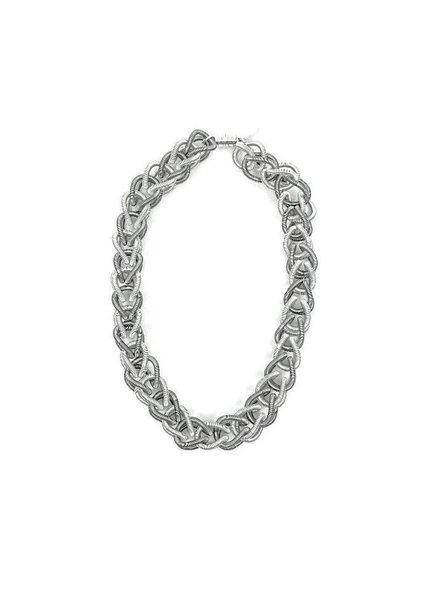 verdigris Silver & Slate piano wire Chain Link Necklace