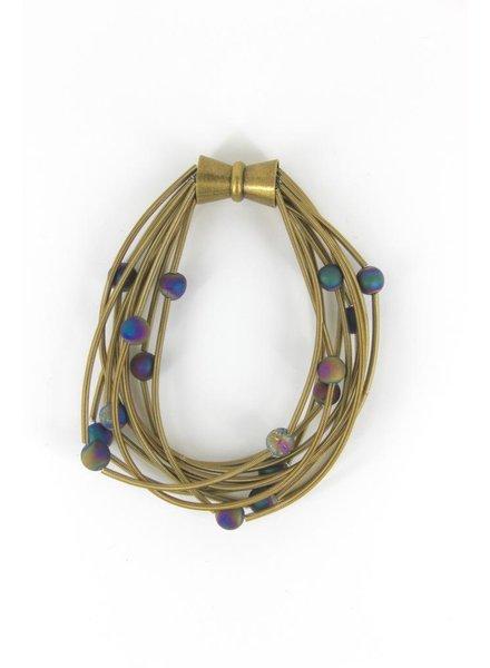 verdigris 10 Layer Bronze piano wire Bracelet with Irri Geode
