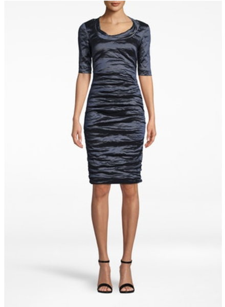 Nicole Miller Techno Metal scoop neck dress