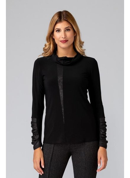 Joseph Ribkoff Faux Leather long sleeve top