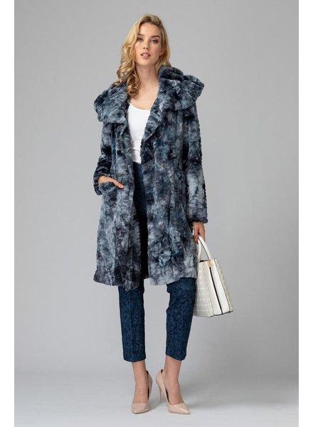 verdigris Oversized collar fur coat