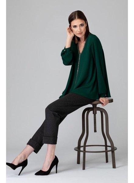verdigris Sparkle trim details blouse