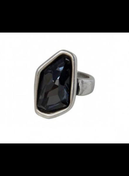 verdigris Ceres Ring, Black Swarovski