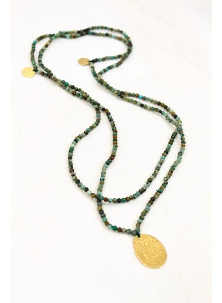 verdigris Beaded coin necklace