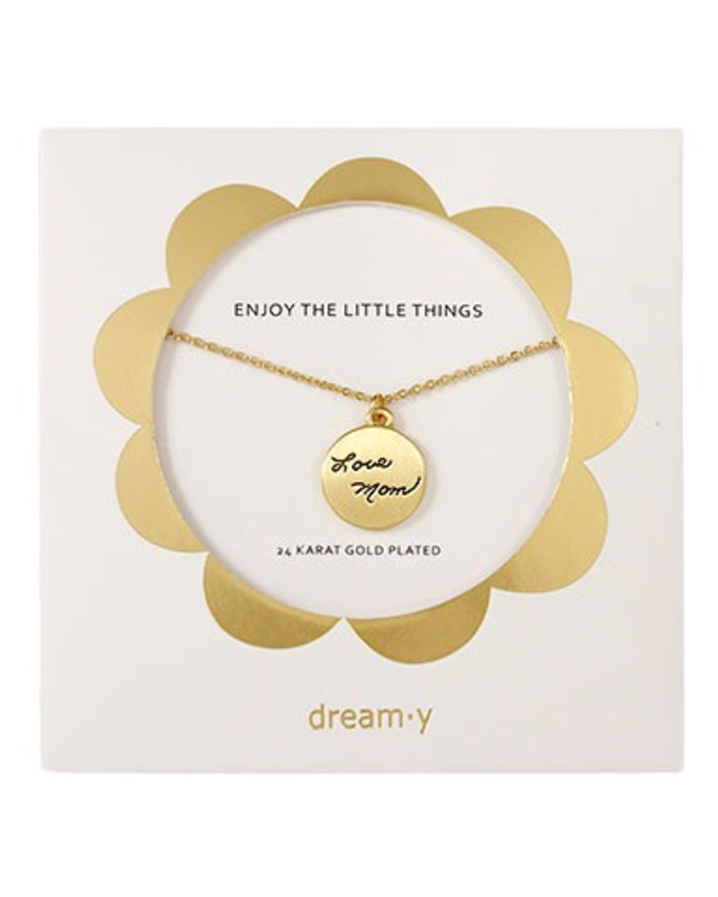 "verdigris Enjoy the little things "" LOVE MOM"" necklace"