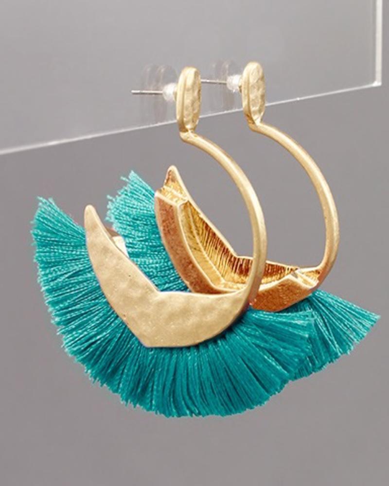 verdigris Hammered Open Tassel Hoops, Turquoise