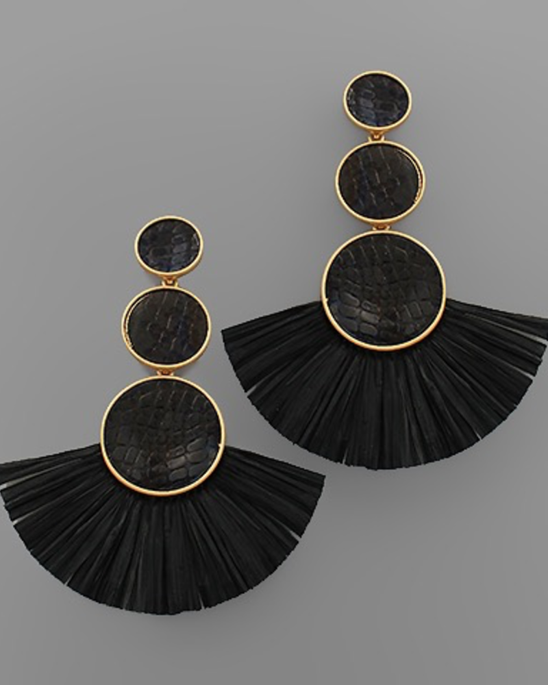 verdigris Snake Skin Disk & Raffia linear earrings, Black