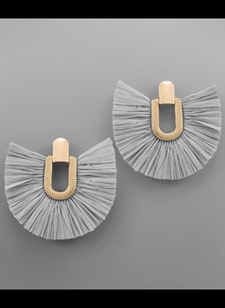 verdigris Raffia Fan Door Knocker Earrings, Grey