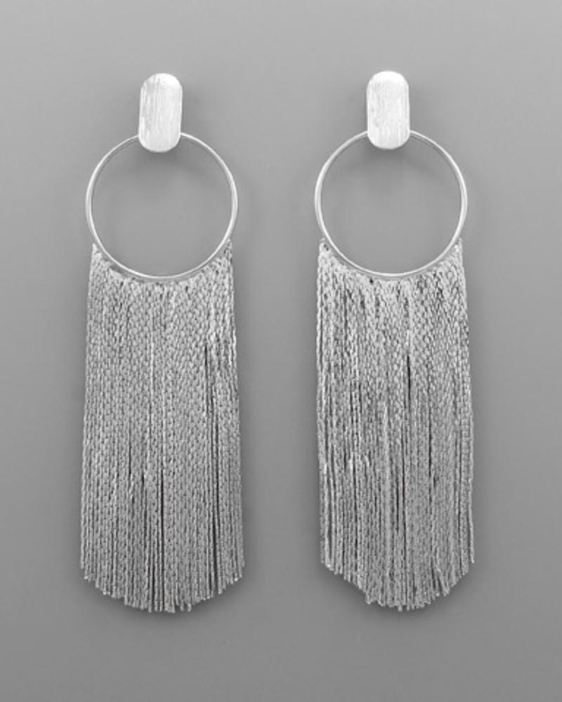 verdigris Circle & Metal Tassel Earrings, Rhodium
