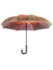 verdigris Dahlia Stick Umbrella Reverse Close