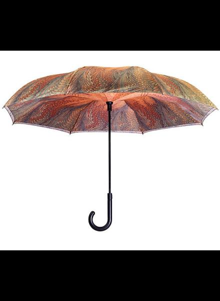 verdigris Dahlia Stick Umbrella Reverse Close