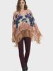 verdigris Emborded shawl with fringe