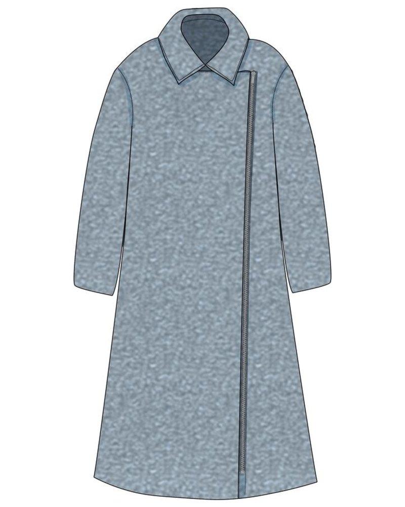 verdigris Wool blend asymmetrical coat