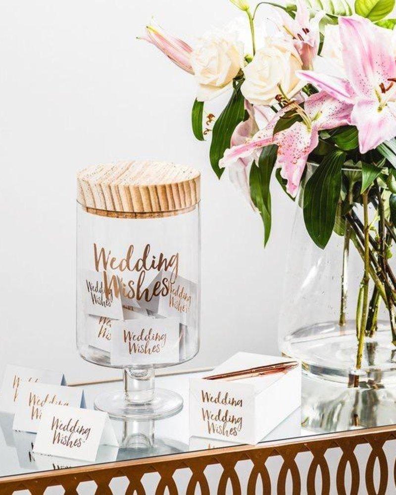 verdigris Wedding Wishes Glass Jar
