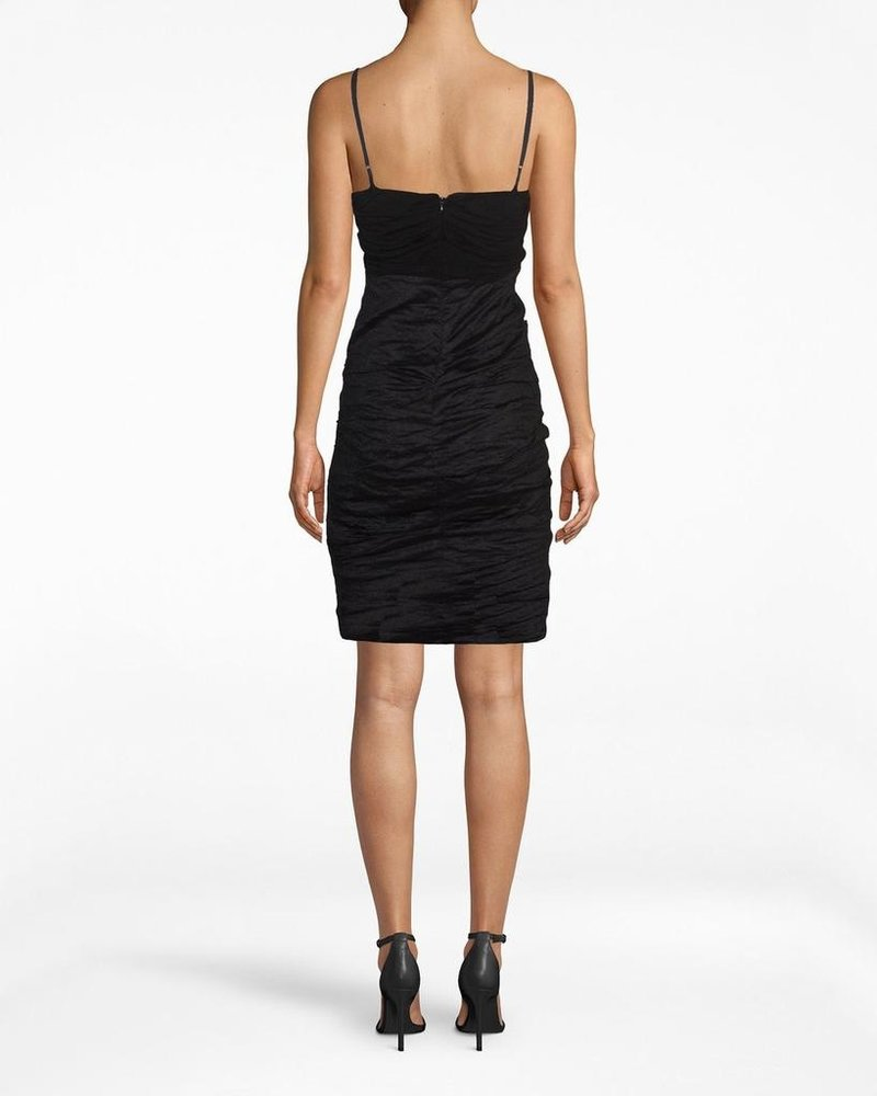 Nicole Miller JERSEY AND COTTON METAL COMBO AND COWL NECK DRESS