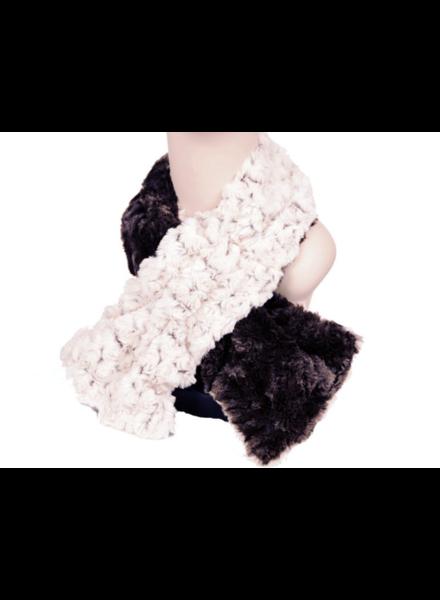 verdigris Faux Fur Pull thru scarf Made in USA , Black & rosebud, OneSize