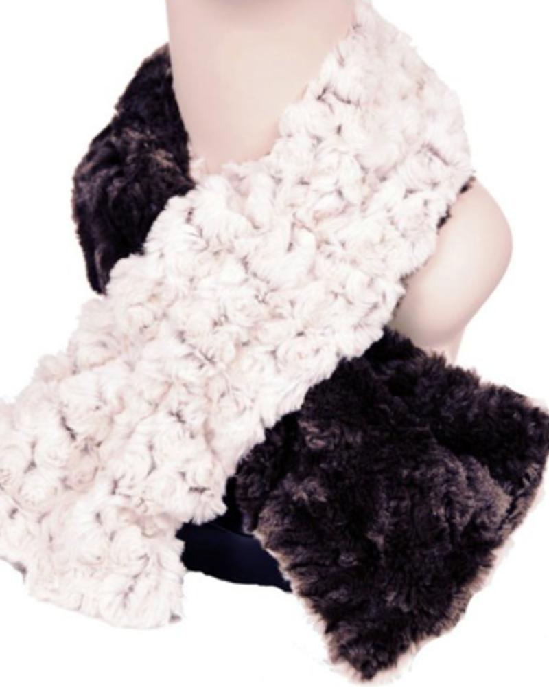 verdigris Faux Fur Pull thru scarf Made in USA ,Rosebud Brown, OneSize