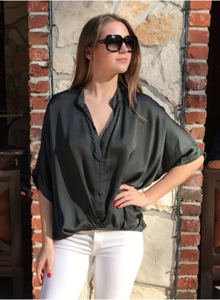 verdigris JANE V-NECK BLOUSE
