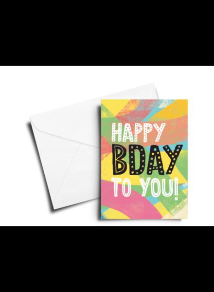 verdigris BIRTHDAY CARD: HAPPY BDAY - MULTICOLOR TEXTURE