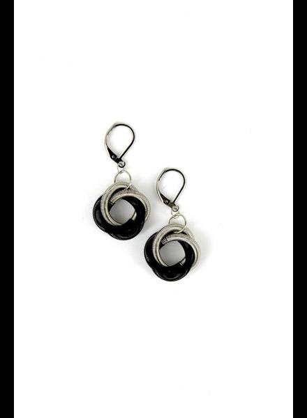 verdigris Silver/Black Twist Loop Piano Wire Earring