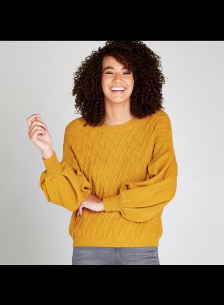 verdigris Volume sleeves cable knit jumbper