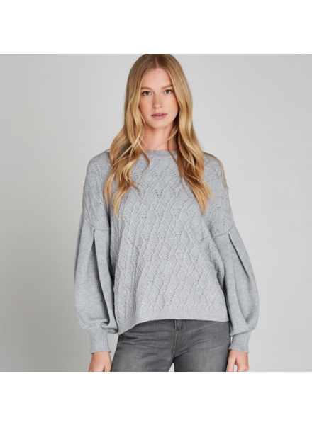 verdigris Volume sleeves cable knit jumper