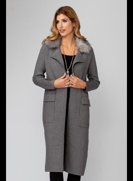 verdigris Faux fur collar coat