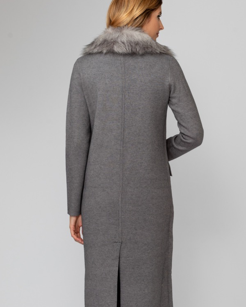 verdigris Faux fur collar coat