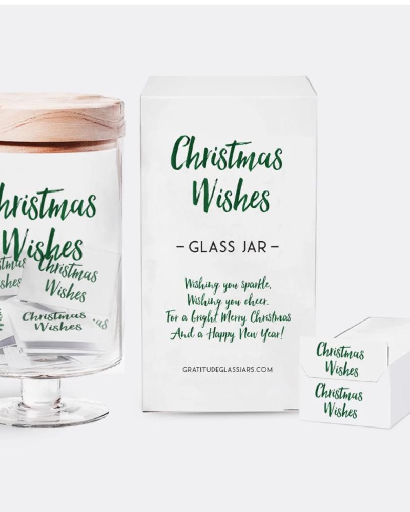 verdigris Christmas Wishes Glass Jar