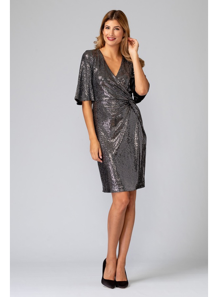 verdigris Wrap Sequin Dress