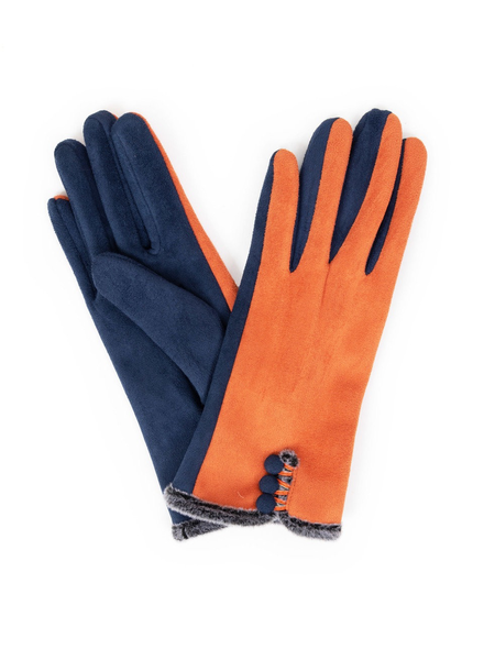 verdigris Amanda Suede Gloves, Tangerine/Navy