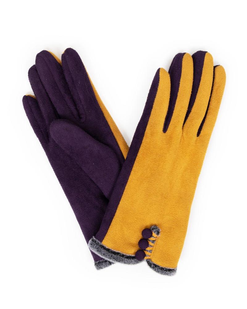 verdigris Amanda Suede Gloves, Damson/Mustard