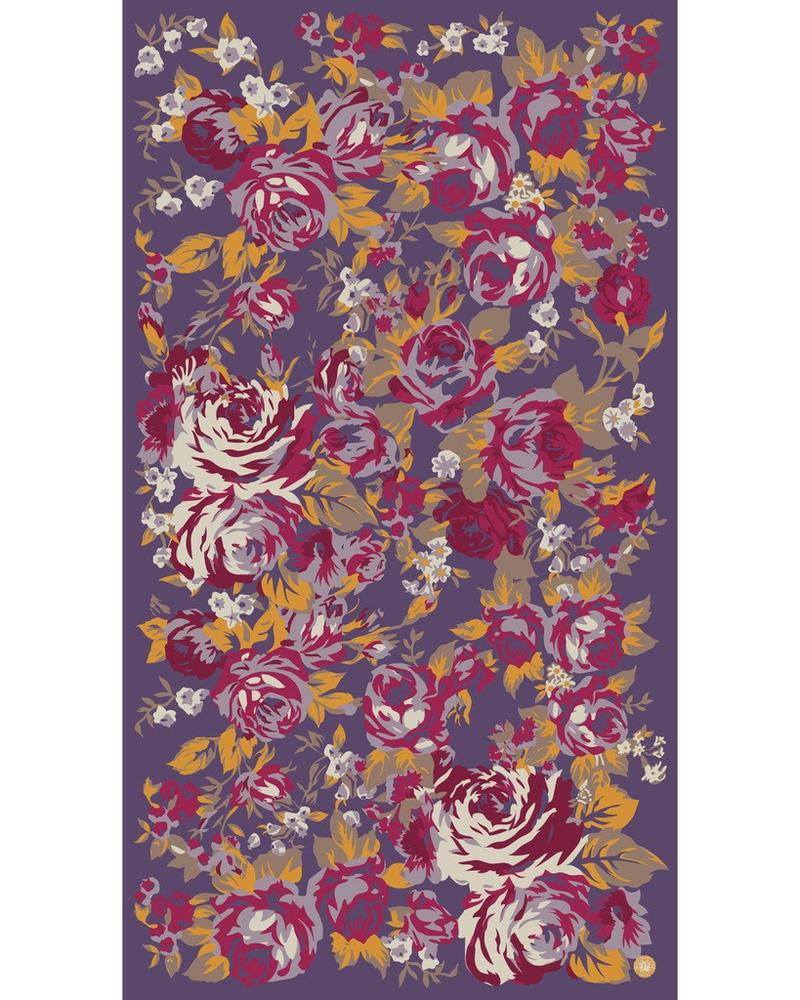 verdigris Autumn Roses Print, Damson