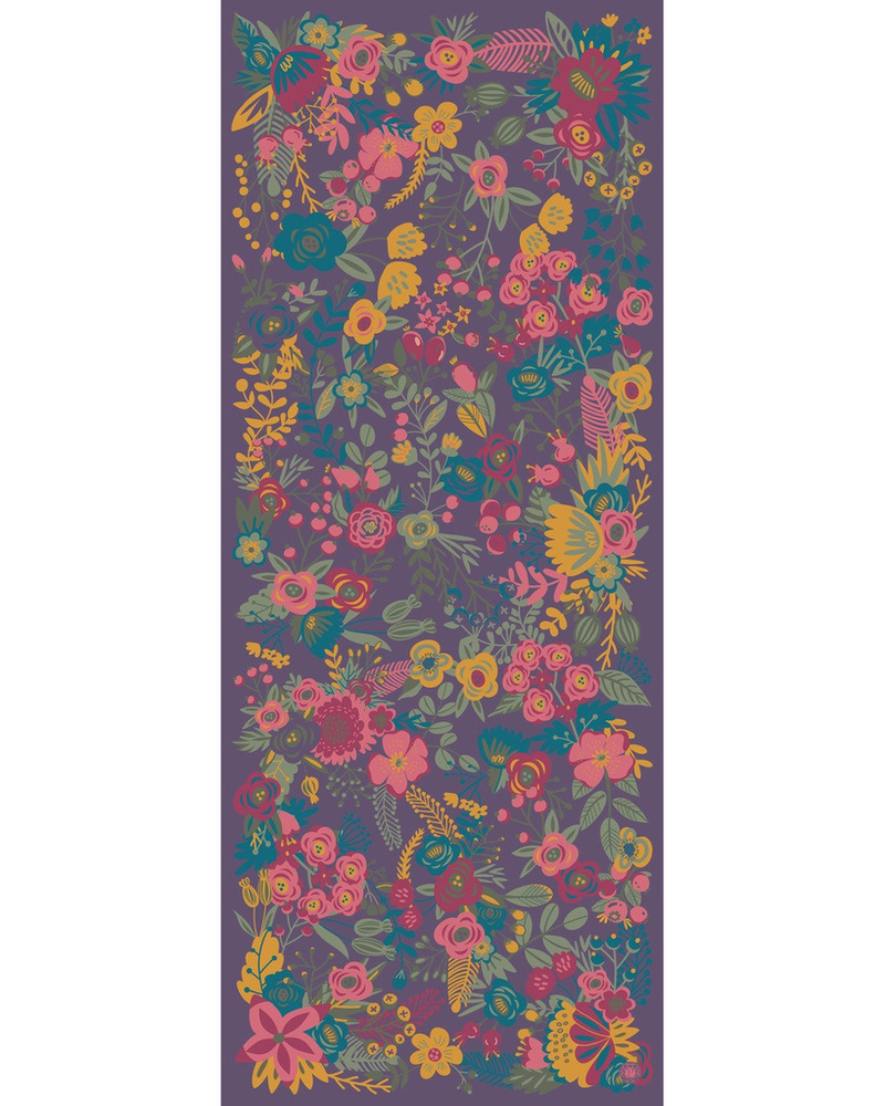 verdigris Floral Satin Print, Damson