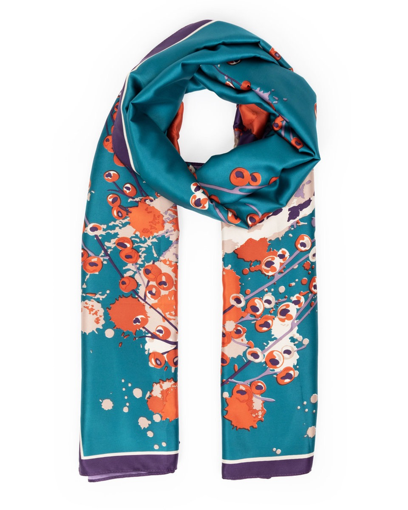 verdigris Watercolour Fox Satin Print Scarf