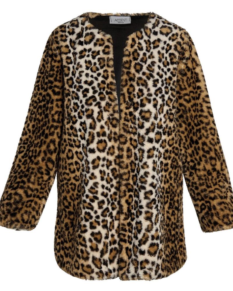 verdigris Athena leopard faux fur jacket
