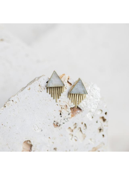 verdigris JOSHUA TREE STUD EARRINGS- MOONSTONE