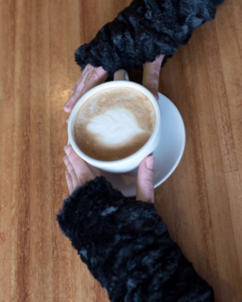 verdigris FINGERLESS / TEXTING GLOVES, REVERSIBLE - LUXURY FAUX FUR IN ESPRESSO BEAN