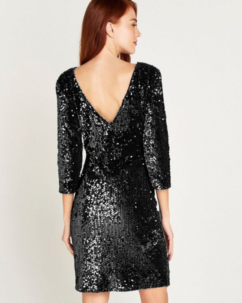 verdigris Sequin Bodycon long sleeve dress