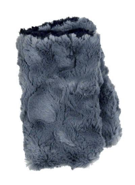 verdigris FINGERLESS / TEXTING GLOVES, REVERSIBLE - CUDDLY FAUX FUR IN SLATE