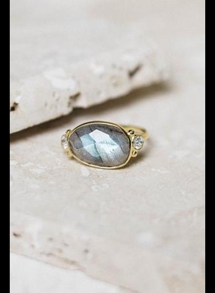 verdigris Cyprus Ring, Labradorite
