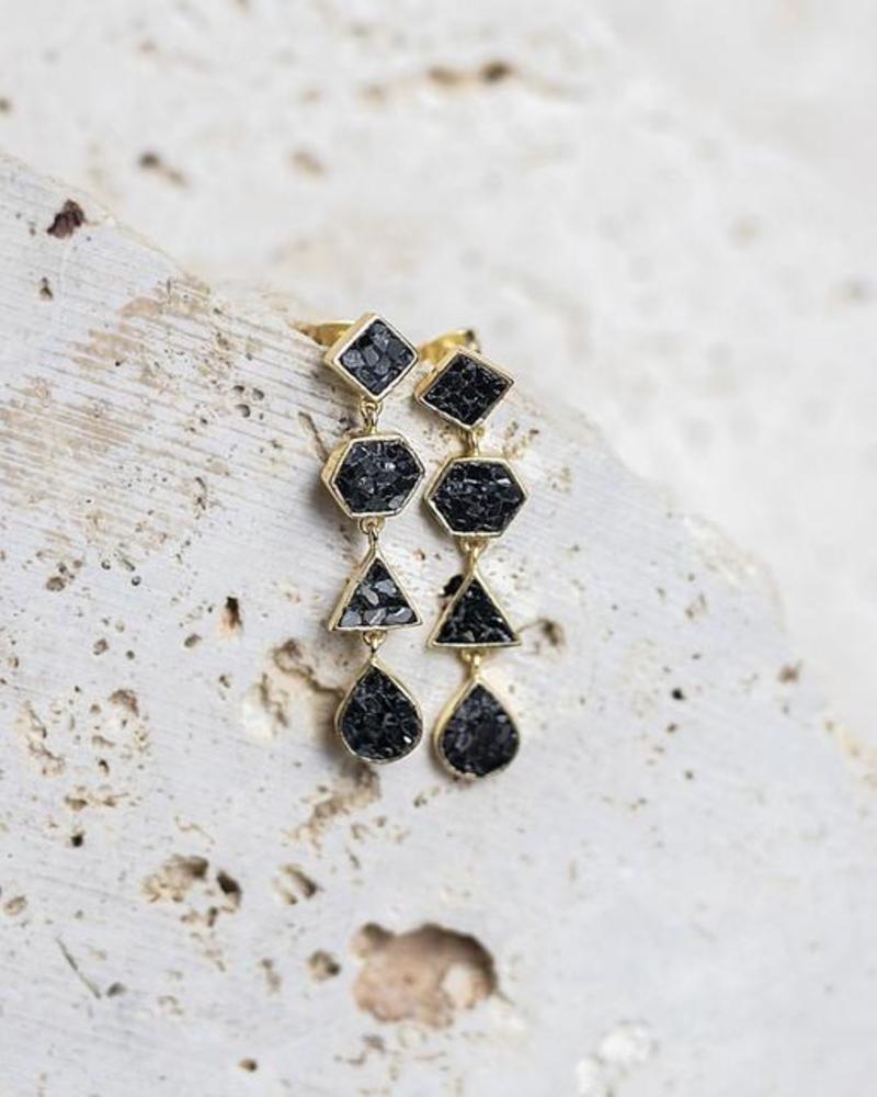 verdigris Deco Diamond Gala Earrings, Black