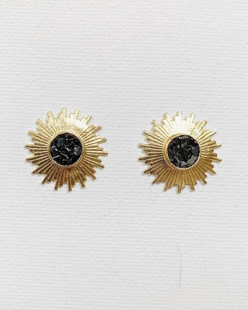 verdigris Kathrine Stud Earrings, Black Deco