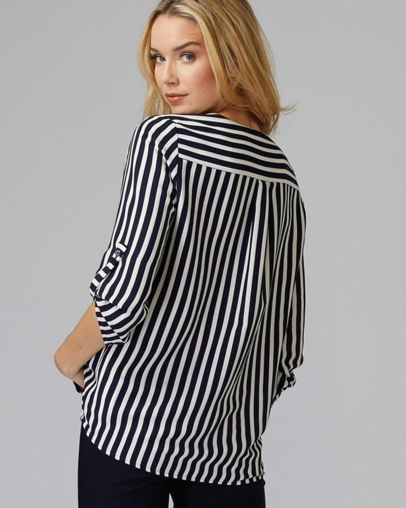 verdigris V-neck open-collar button-down blouse