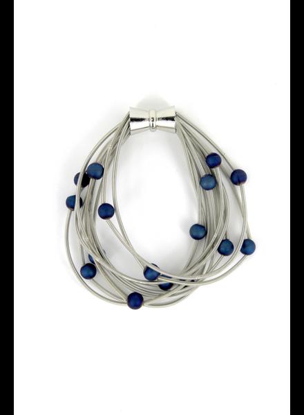verdigris 10 Layer Silver Brac w. Blue Geode