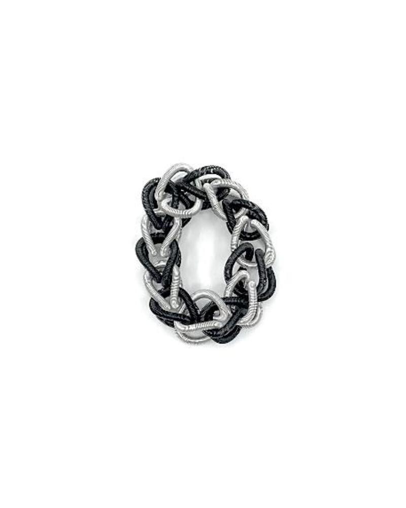 verdigris Piani wire Silver/Black Chain Link Bracelet
